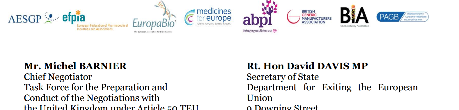 Letter to UK and EU negotiating teams from Pharmaceutical Industry