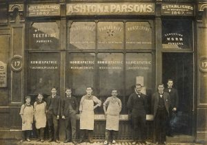 Staff outside the Ashton & Parsons established premises at 17 Wormwood Street, Bishopsgate, London