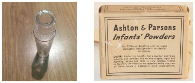 Original bottle and first known cardboard pack c. 1860s
