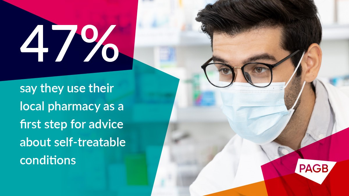 pharmacist in mask with survey statistic